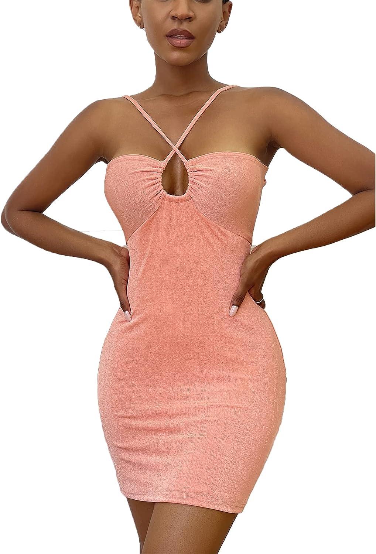 SheIn Women's Criss Cross Backless Mini Bodycon Dress Sleeveless Tie Back Cami Dress