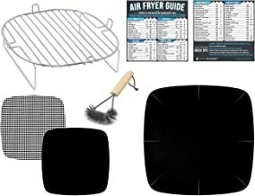 Air Fryer Rack Accessories Compatible with GoWise, Power Airfryer Oven, Chefman, Habor XL, NuWave Brio, CalmDo, Maxi-Matic Elite, Cozyna, Zokop +More | Large Accessory Set With Food Temperature Guide