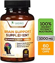 Brain Supplement Highest Potency Nootropic Booster 1000mg - Memory Pills for Better Focus & Clarity, Made in USA, Best Natural Mental Performance & Concentration Support - 60 Capsules