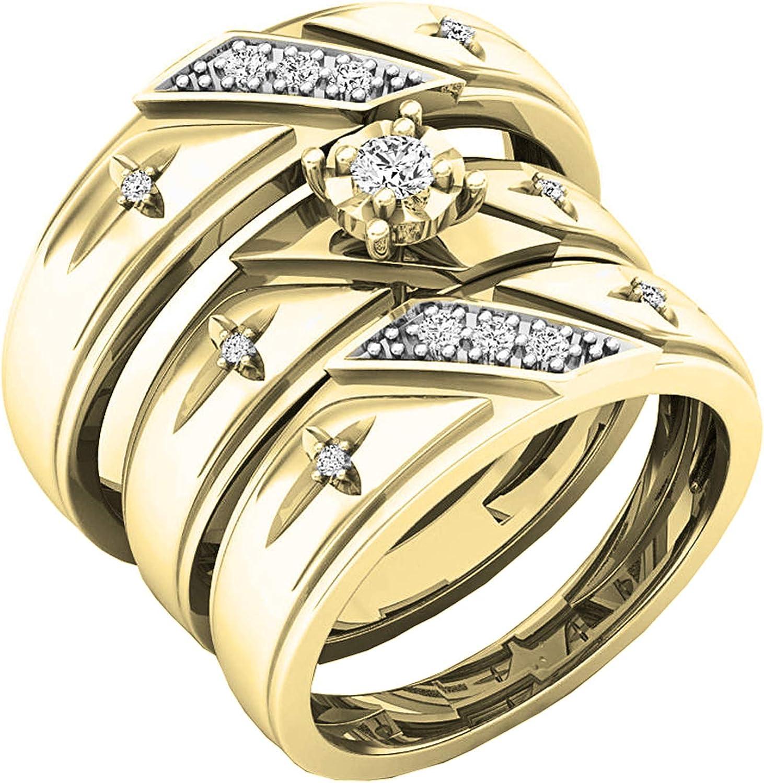 Dazzlingrock Collection 0.20 Carat (ctw) 14K Round White Diamond Men & Women's Engagement Ring Trio Bridal Set 1/5 CT, Yellow Gold