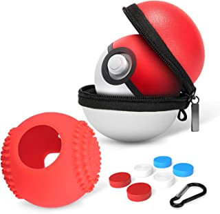 HEYSTOP Portable Carrying Case for Nintendo Switch Pokemon Ball Plus Controller, 2in1 Accessory Bag for Pokemon Lets Go Pikachu Eevee Game for Nintendo Switch(Carrying Case+Silicone Cover)