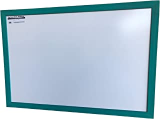 Dry Erase White Board with Turquoise Wooden Frame for Home, School, Office - 24