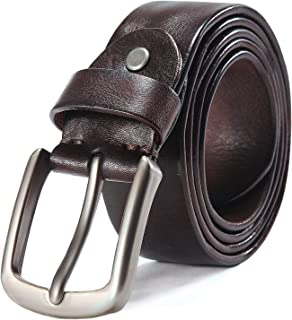 Men's Full Grain Italian Cow Leather Belt Anti-scratch Buckle Belts with Classic Silver Prong for Jeans and Dress
