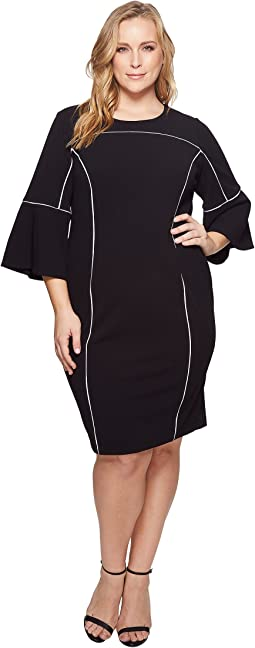 Calvin Klein Plus - Plus Size Bell Sleeve Dress w/ Bind