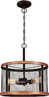 Westinghouse 6332740 63327 Luminaire suspendu d'intérieur à trois lampes, finition bronze huilé aux accents cuivrés et ave...