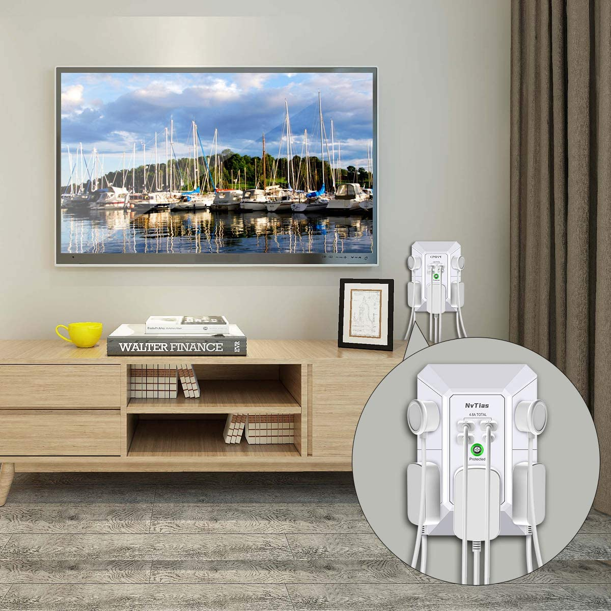 Multi Plug Outlets,Surge Protector, NvTias USB Wall Charger with 4 USB Charging Ports(4.8A Total,1 Type C) 3-Prong 1680J Power Strip Wall Adapter Spaced for Home ,Office,White