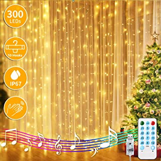 Newest Window Curtain String Lights, 300-LED String Lights USB Powered,4 Music Control Modes 8 Lighting Modes Waterproof Decorative Light for Wedding,Home,Party,Garden,Christmas,Festival (9.8x9.8 Ft)