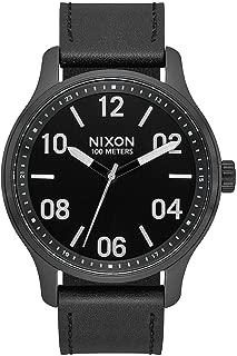 Nixon Men's Patrol Leather Watch Black Silver Black 42mm