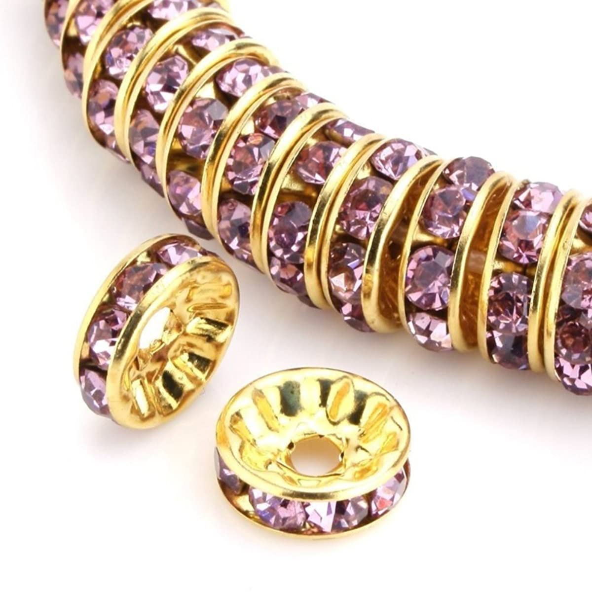 100pcs 8mm 14k Gold Plated Copper Brass Rondelle Spacer Round Loose Beads Light Amethyst Austrian Crystal Rhinestone for Jewelry Crafting Making CF4-811