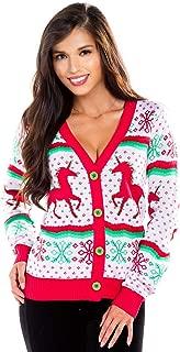 Women's Unicorn Ugly Christmas Sweater - White Cute Unicorn Christmas Cardigan
