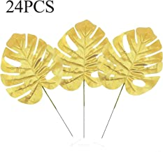 Linkhome 24PCS Golden Artificial Palm Leaves with Stems for Wedding Party Home Decoration