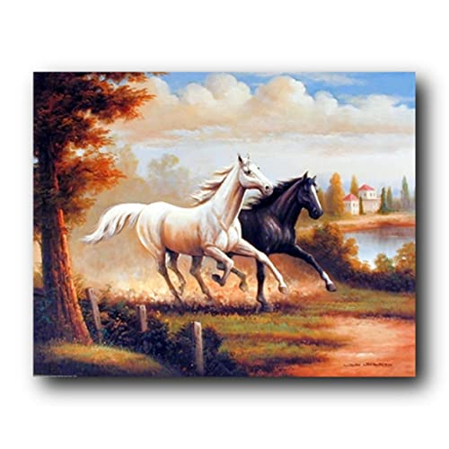 Western Cowboy on Cutting Wild Horse Animal Wall Decor Black Framed Picture