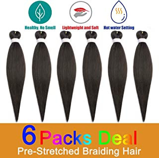 Pre-Stretched Braiding Hair, The Best for your Easy BraidHair, Yaki Texture Synthetic Hair Braids, 24