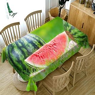 TWTIQ Mantel con Patrón De Frutas 3D Verduras Verdes Tela A Prueba De Polvo Tela Lavable Espesar Algodón Rectangular Y Red...