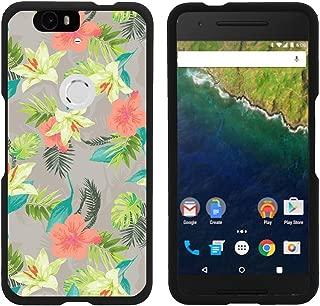 TurtleArmor   Compatible with Huawei Nexus 6P Case   Google Nexus 6P Case [Slim Duo] Slim Snap On 2 Piece Hard Cover Protector Rubberized Coating on Black - Hawaiian Flowers