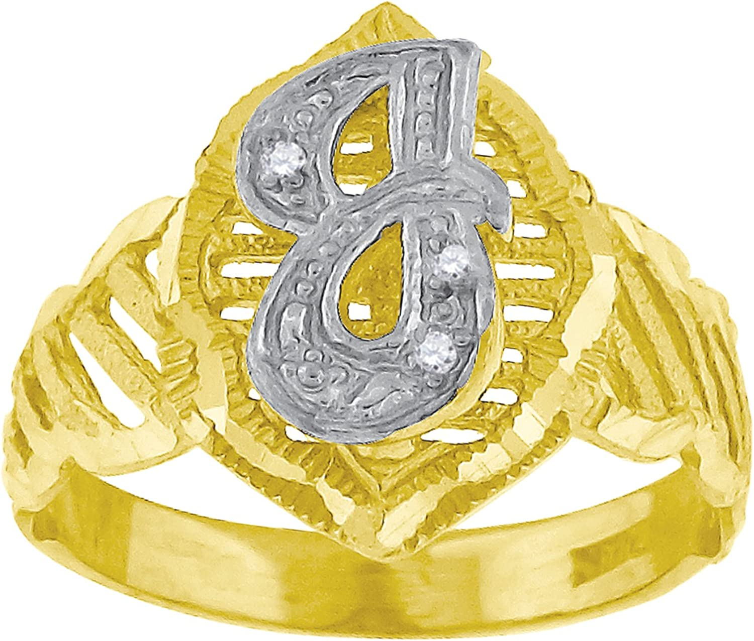 10kt TwoTone gold Womens Round Cubic Zirconia CZ Initial Letter  J  Fashion Ring