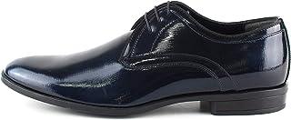 Zapatos de ceremonia clásicos artesanales Oxford de pintura Labirinto azul