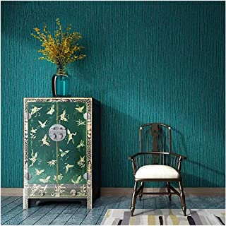 Blooming Wall: Faux Grasscloth Pattern Wallpaper Roll for Livingroom Bedroom, 20.8 In32.8 Ft=57 Sq.ft (Dark Green)