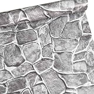 Contact Self-Adhesive Brick Wallpaper, Removable 3D Print Wallpaper Grey Color Stone Texture, No Residual, Easy to Put Up and Realistic Look for Home Bar Wall Decoration