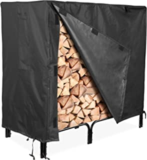 femor Firewood Rack Cover, 4 Feet 600D Heavy Duty Waterproof Patio Log Rack Outdoor Cover, Black