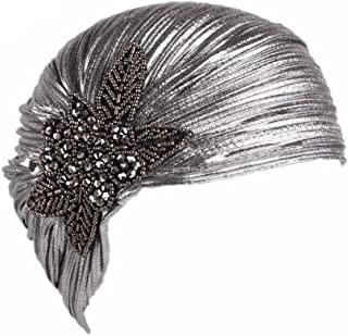 Women's Noble Ruffle Turban Hat Glitter Pleated Stretch Head Wraps Chemo Cap