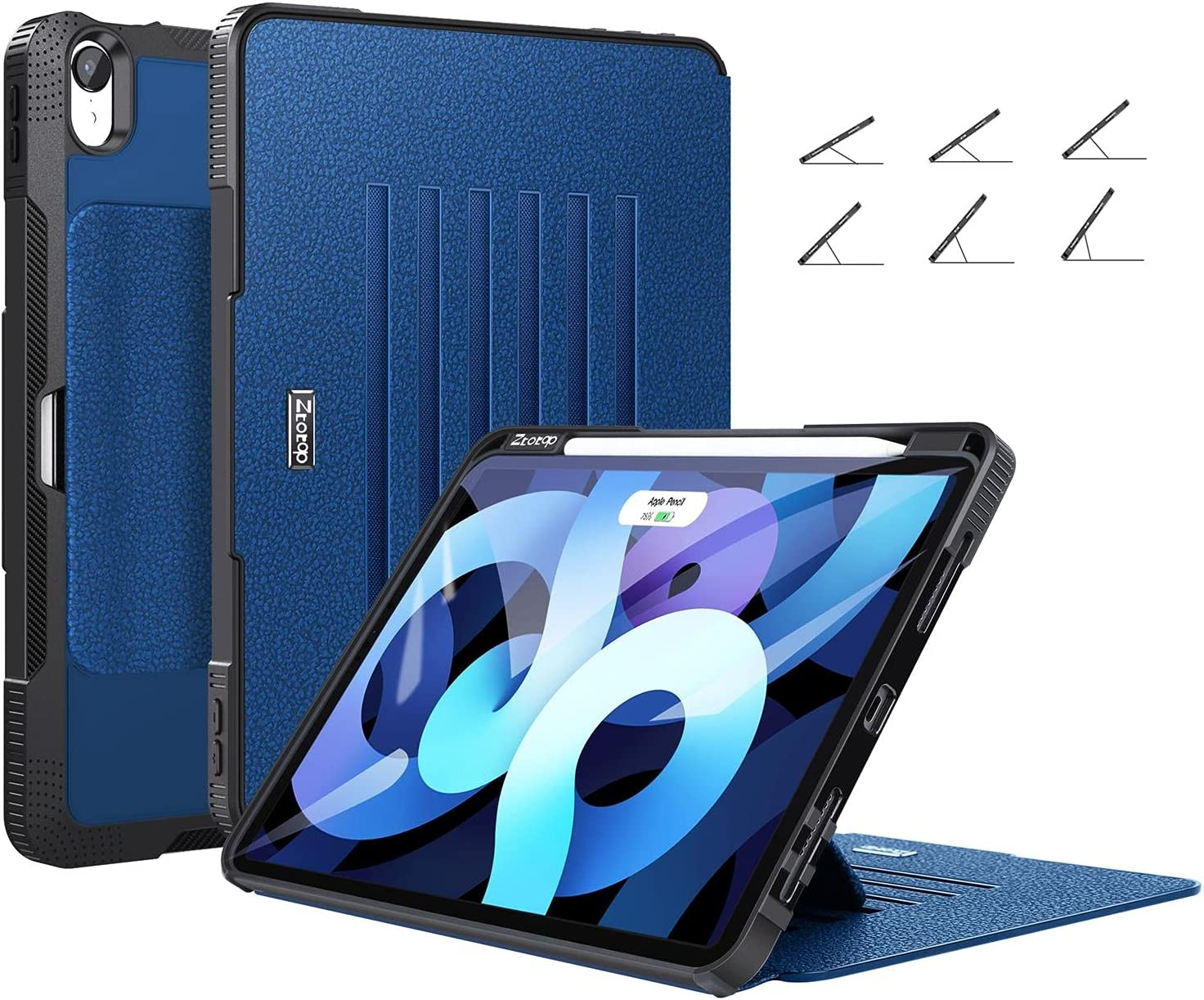 ZtotopCases for New iPad Air 4 Case 10.9 Inch 2020, [6 Magnetic Stand + Pencil Holder + Auto Wake/Sleep] Full Body Protective Cover Case for iPad Air 4th Generation, Blue