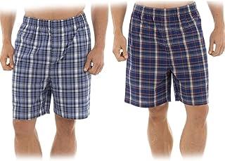 2 Pack Mens Check Pyamas Woven Lounge Shorts