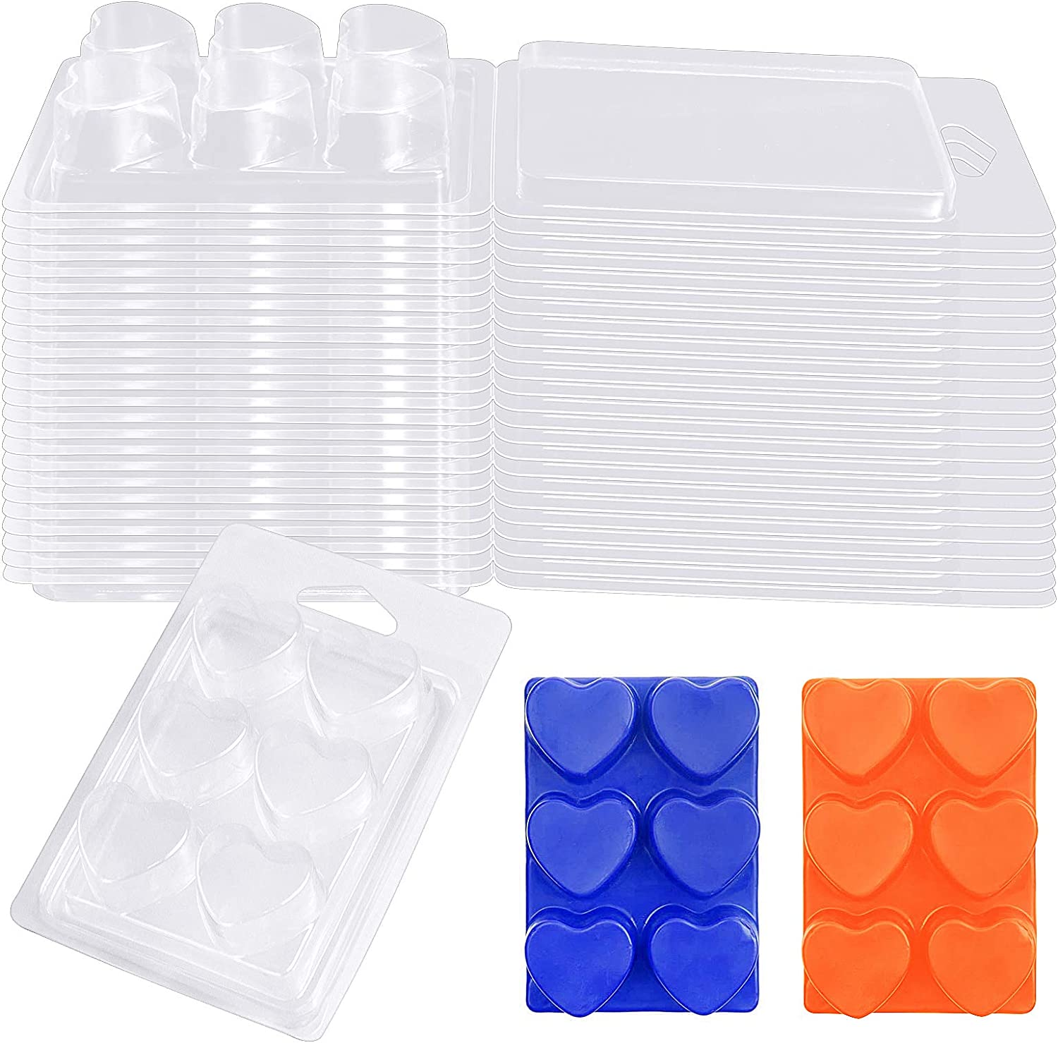 Meetory Wax Melt Molds Clear Heart Plastic Clamshel Empty Manufacturer regenerated product Ranking TOP6 Shape