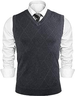 Men's V-Neck Argyle Sweater Vest Sleeveless Knit Pullover