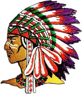 indio jefe de tribu - Parches termoadhesivos bordados aplique para ropa, tamaño: 7,5 x 6,3 cm