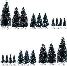 BANBERRY DESIGNS Mini Bottle Brush Tree Set - Pack of 20 Little Green Christmas Trees - Diorama Xmas Village