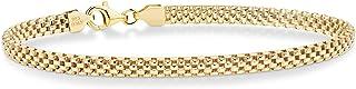 Miabella 18K Gold Over Sterling Silver Italian 4mm Mesh Link Chain Bracelet for Women Teen Girls 6.5, 7, 7.5, 8 Inch 925 I...