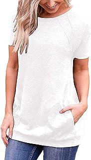 iClosam Maglietta Donna Manica Corta T-Shirt Donna Cotton Casual Oversize Tinta Unita S-XXL