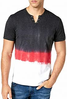 INC International Concepts Men's Split-Neck Dip Dyed Short-Sleeve T-Shirt