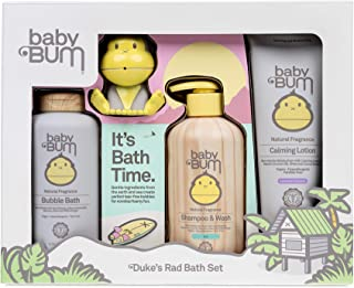 Baby Bum Duke's Rad Bath Set | Full Size Bath Essentials 4-Piece Gift Set with Toy for Sensitive Skin with Nourishing Coco...