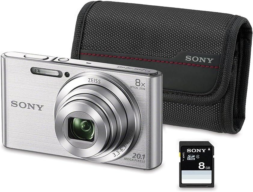 Sony DSC-W830 - Cámara compacta de 20.1 Mp (pantalla de 2.7 zoom óptico 8x estabilizador óptico) plata - Kit cámara + Funda + SD 8 GB