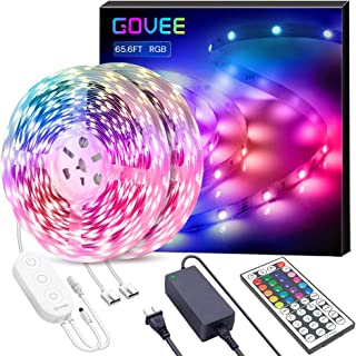 65.6ft LED Strip Lights, Govee Ultra-Long Color Changing Light Strip with Remote, 600LEDs Bright RGB LED Lights, DIY Color Options Tape Lights with UL Listed Adapter for Bedroom Ceiling Under Cabinet