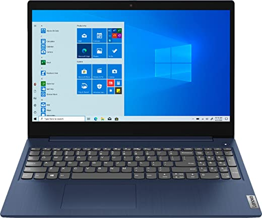 "Lenovo IdeaPad 3 15.6"" HD (1366x768) Touchscreen Laptop, Intel Core i5-10210U, 1.6GHz, 8GB RAM, 512GB SSD, Windows 10 Home, Abyss Blue"