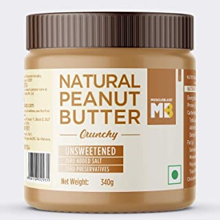 MuscleBlaze Natural Peanut Butter Unsweetened, 340 gram Crunchy