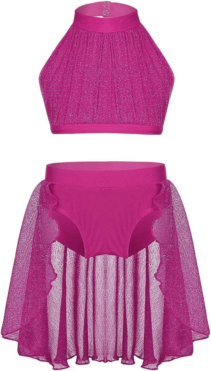 iiniim Big Girls 2pcs Ranking TOP15 Lyrical Dance Turtleneck T Large-scale sale High Crop Dress