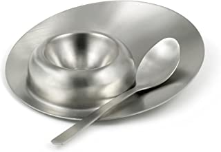 StainlessLUX 75560 Brushed Stainless Steel Egg Server with Spoon, 4.65 Inches Diameter x 0.875 Inches Height