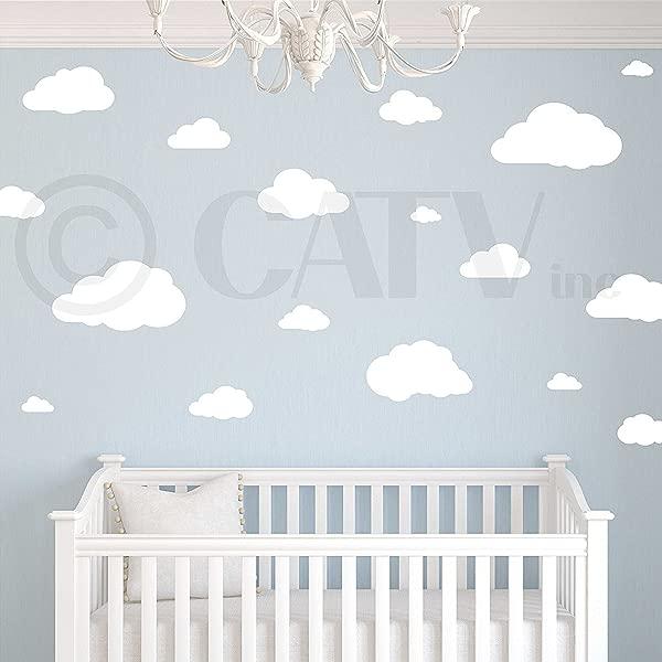 云朵一套 21 墙图案自粘贴花贴纸 Graphitex 自粘面料材料白色