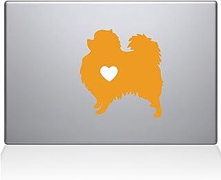 "The Decal Guru Pomeranian Love Silhouette Decal Vinyl Sticker, 13"" MacBook Pro (2015 & Older Models), Yellow (2336-MAC-13P..."