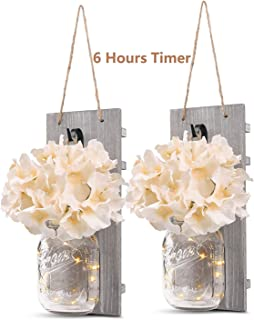 Rustic Wall Sconces - Mason Jars Sconce, Rustic Home Decor,Wrought Iron Hooks, Silk Hydrangea and LED Strip Lights Design ...
