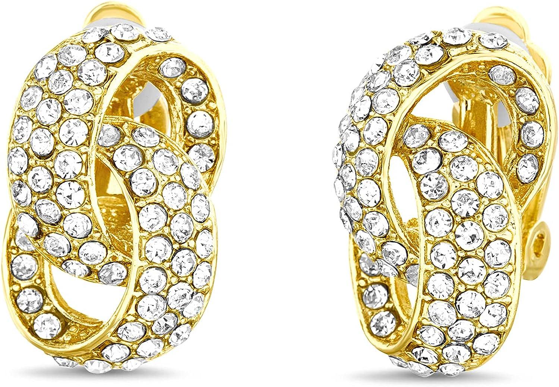 Badgley Mischka Rhinestone Love Knot Yellow Clip On Stud Earrings for Women