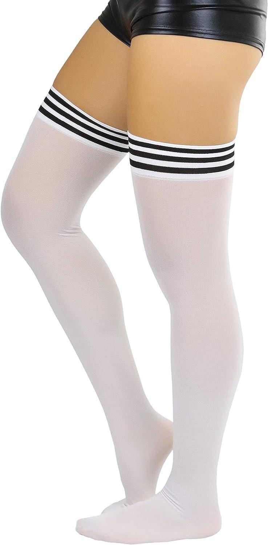 ToBeInStyle Women's Modern Thin Tripple Striped Opaque Thigh High Stocking