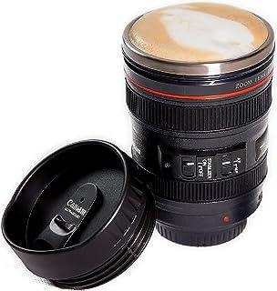 كوب بتصميم عدسة كاميرا 400 مل بميزة الخلط الذاتي ستانلس ستيل للقهوة والشاي
