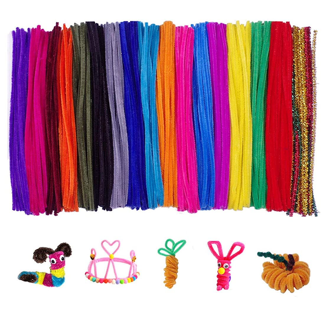 300 Pcs Random Colors Pipe Cleaners Chenille Stems for DIY Art Supplies (6 mm x 12 inch)