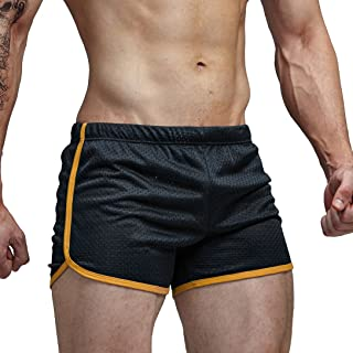 AIMPACT Short Mesh Sexy Running Shorts Double Layer 3 inch Shorts Ranger Panty Running Short for men(AC11BlackXL)