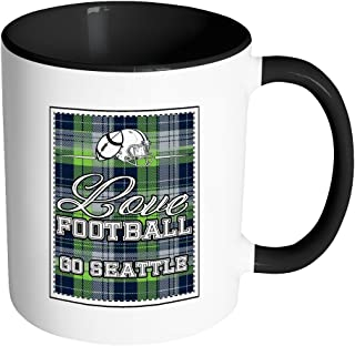 Love Football Go Seattle Fan Gift Gingham Plaid Tartan 11oz 7Color Mug